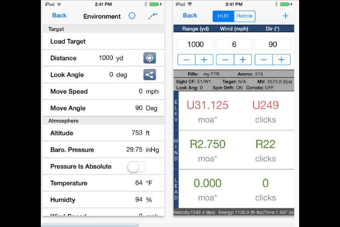 Applied Ballistics iPod Ballistic Calculator