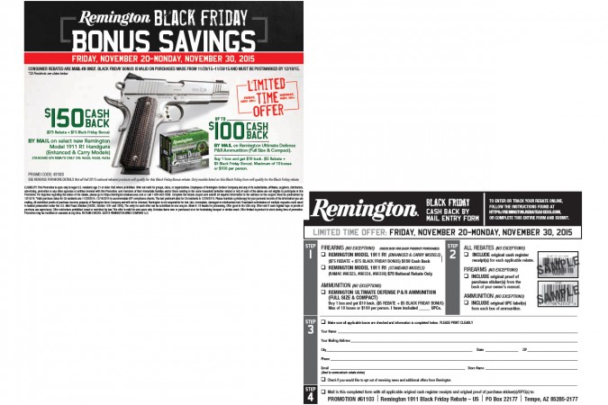 Remington R1 & Ultimate Defense Ammo Black Friday Rebate