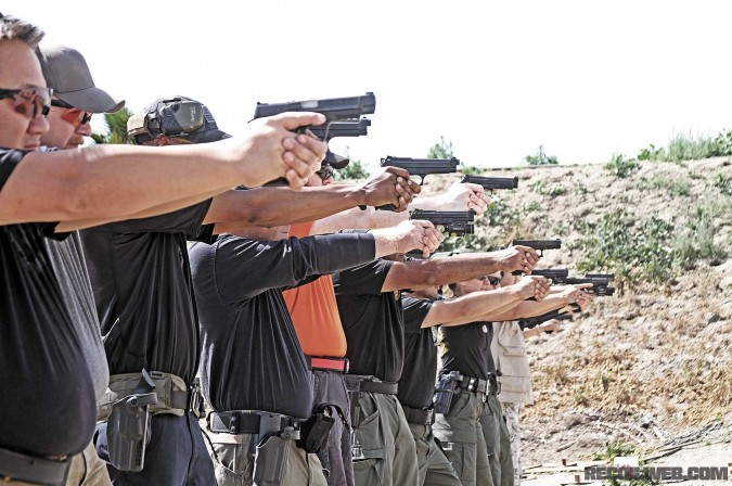 Langdon training a group of civilians and law enforcement personnel at a class hosted by Performance Firearms Training.