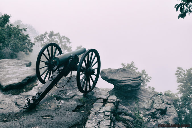 Normally a stunning view of Chattanooga below, a cannon on Lookout Mountain points only into fog. It marks the place where a Confederate battery helped lay siege to Union-held Chattanooga in 1863.
