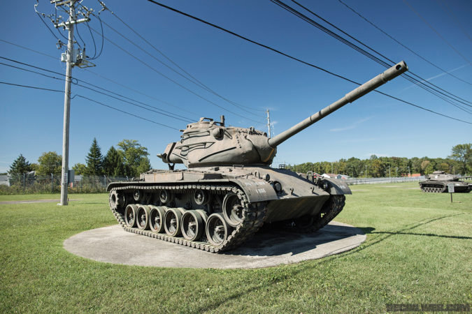 The walkway approaching the museum features several tanks from various parts of American armored history.