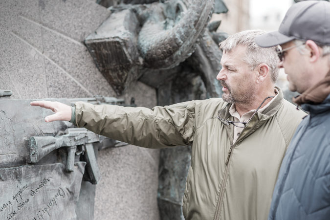 Larry Vickers and Maxim Popenker at the Mikhail Kalashnikov monument in Moscow.