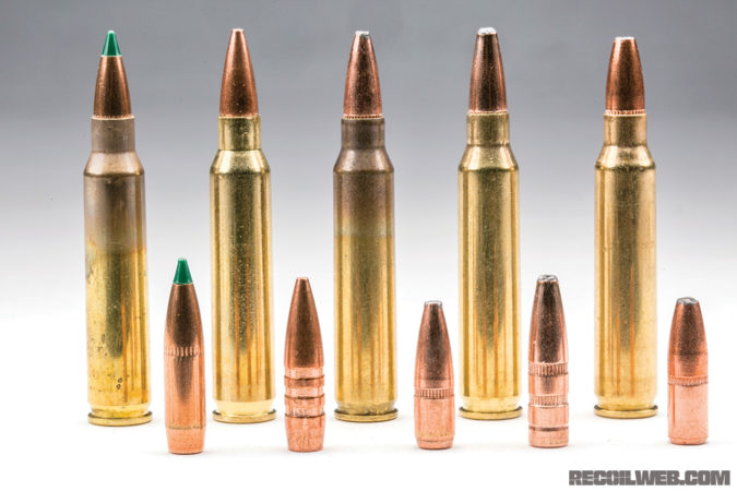 From left to right:Black Hills 77gr Tipped Match King; Barnes 62gr TSX VOR-TX; Federal 62gr Fusion MSR; Hornady 75gr InterLock HD SBR; Nosler 64gr Defense Bonded Solid Base.