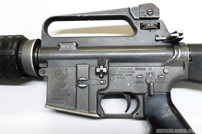 M16A2 Export Lower. The Guatemalan export M16A2 was configured with the M16A1 style lower emblazond with Colt M16A2 roll marks as pictured. The fire control group markings were stamped on both sides of the lower (which is the common configurations for M16A2s) but with a BURST marking replacing the more common AUTO marking.