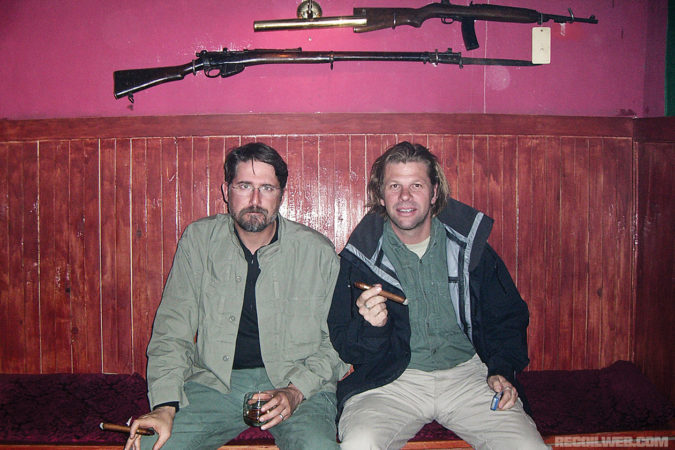 Right bottom: Hodge and fellow contractor Clay Richardson enjoy an evening out at the Gandamak Lodge in Kabul while working overseas in 2006.