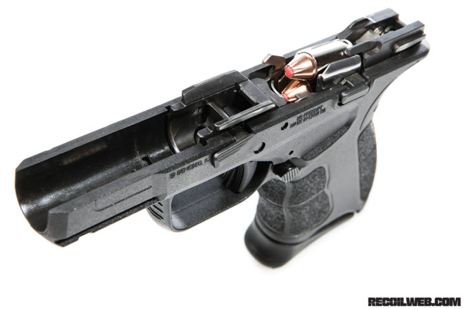 A breakaway view of the lower receiver shows how low the bore sits in relation to the grip.