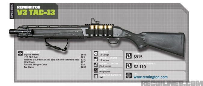 Remington V3 TAC 13 Specs.