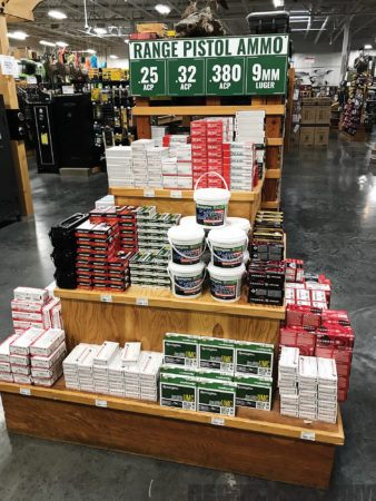 A plinking ammo endcap display at a Sportsman's Warehouse. No ammo shortage here, for now.